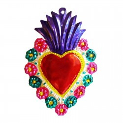 Sacred heart with floral border Indigo