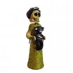 Figurine calavera Frida avec petit singe