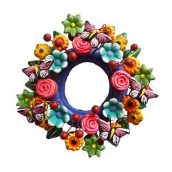 Couronne de fleurs et papillons - Décoration mexicaine - Casa Frida