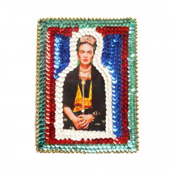 Patch sequins Frida Kahlo Bleu