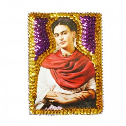 Patch sequins Frida au châle rouge