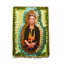 Patch sequins Frida Kahlo Vert
