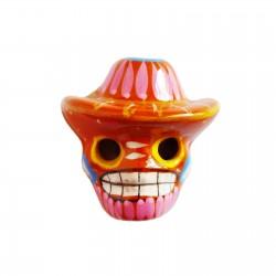 Magnet Crâne au sombrero Orange