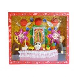Vitrine Autel Vierge de Guadalupe Rouge