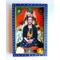 Niche Frida Kahlo avec papillons - Autel mexicain kitsch - Casa Frida
