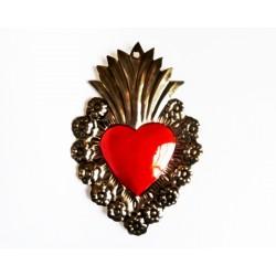 Ex voto coeur sacré avec fleurs