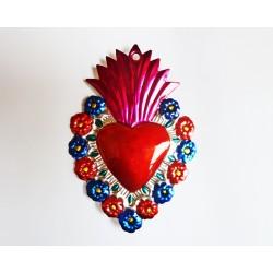 Ex voto coeur sacré avec fleurs - Vert
