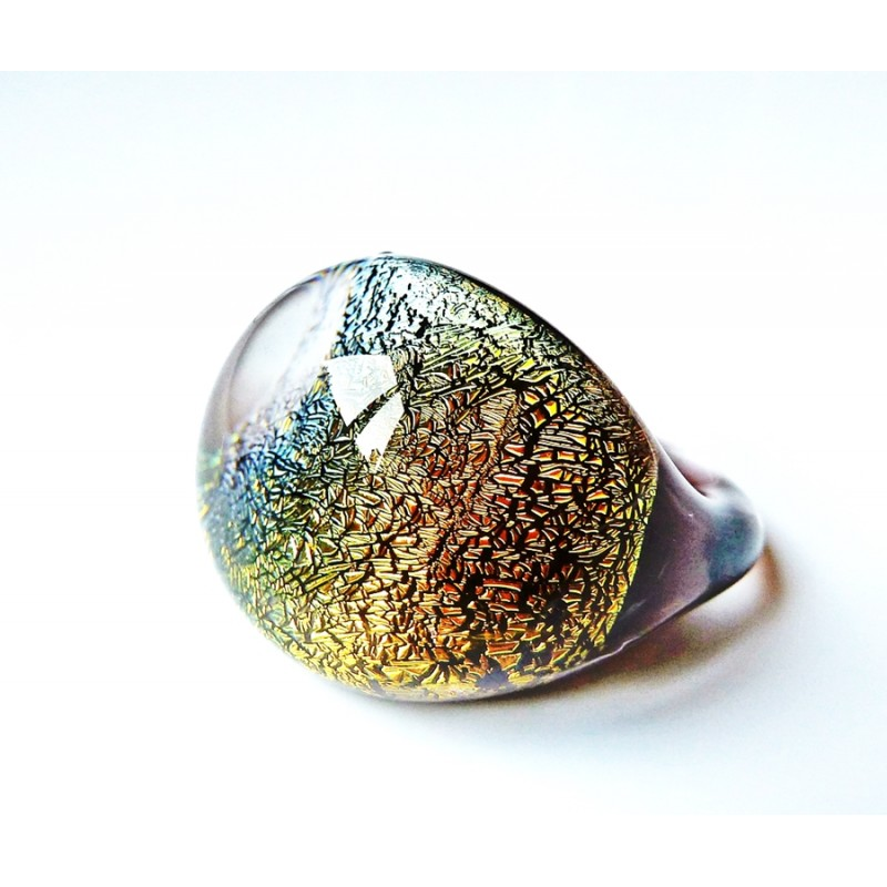 Domed Dichroic Glass Ring Gold