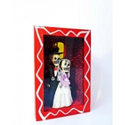 Boîte vitrine Vive les mariés! - Rouge - Diorama mariage - Casa Frida