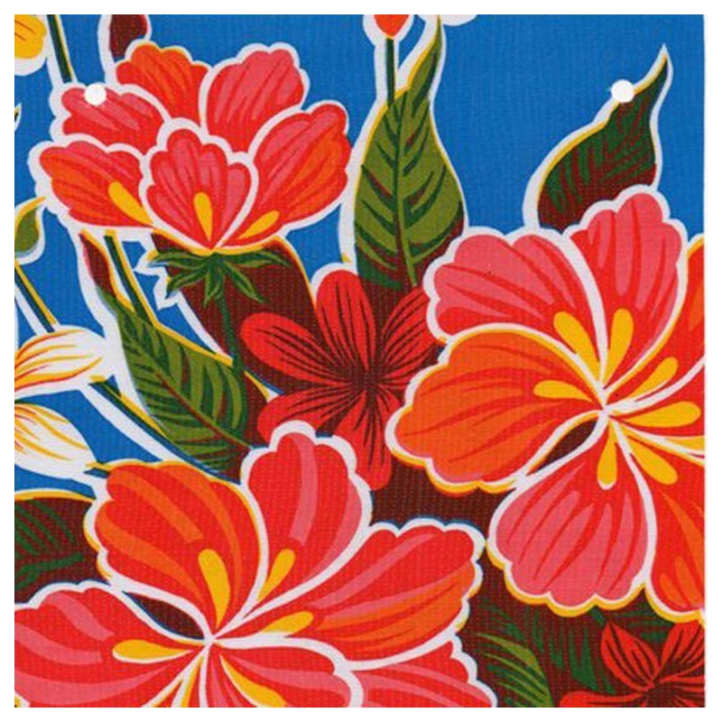 toile cir e hibisco bleu toile enduite mexicaine fleurs. Black Bedroom Furniture Sets. Home Design Ideas