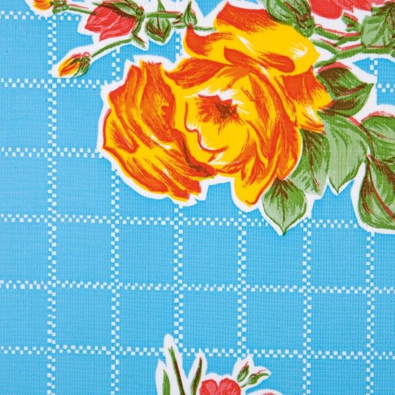 toile cir e rosedal bleu toile enduite r tro fleurs casa frida. Black Bedroom Furniture Sets. Home Design Ideas
