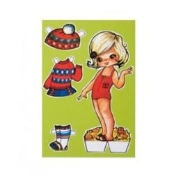 Carte postale poupée vintage - Vert