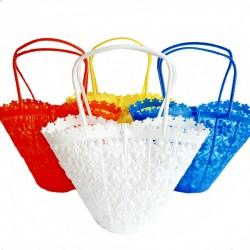 Pequeña cesta con flores - Blanco