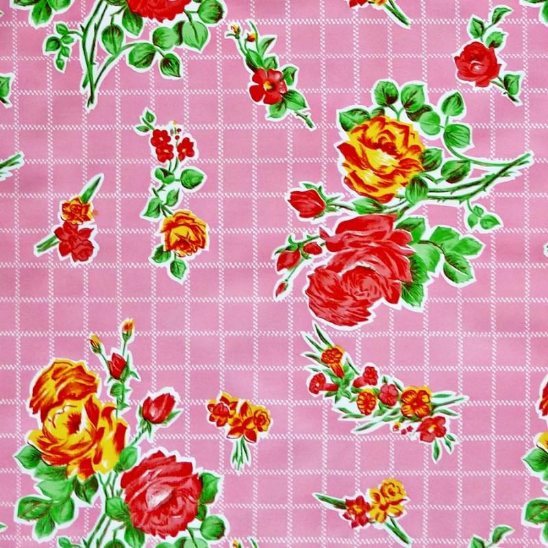 toile cir e rosedal rose toile enduite r tro fleurs casa frida. Black Bedroom Furniture Sets. Home Design Ideas
