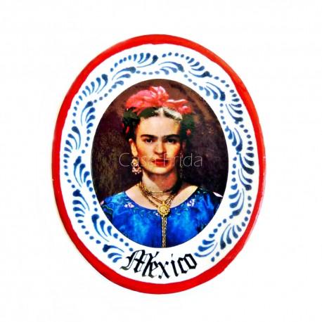 Red Frida Kahlo miniature plate magnet