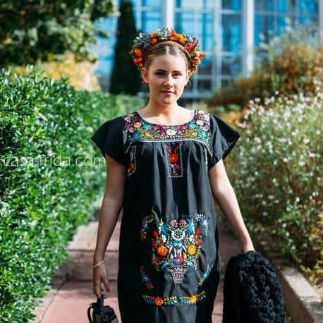 Vestido Túnica Mexicana Bordada A Mano Negro