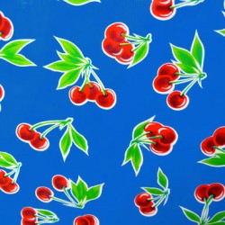 Blue Cerezas oilcloth