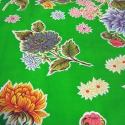 Green Crisantemos oilcloth
