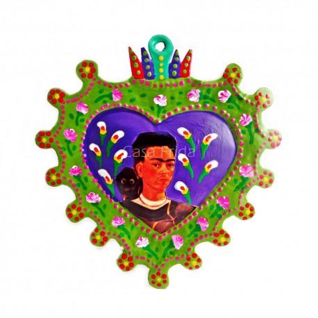 Green Frida Kahlo Painted heart