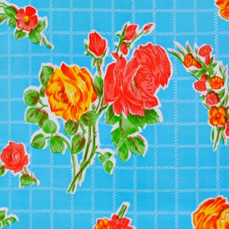 Blue Rosedal oilcloth