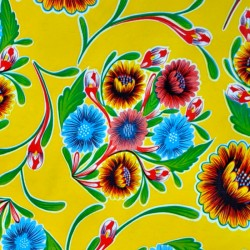 Yellow Dulce flor oilcloth