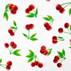 White Cerezas oilcloth