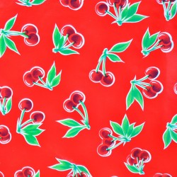 Red Cerezas oilcloth