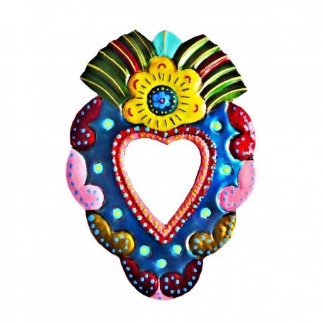 Coeur sacré à miroir Fleur jaune
