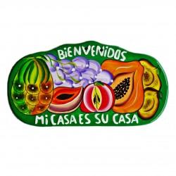 Wall plaque Bienvenidos green - Mexican decor - Casa Frida