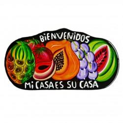 Placa de pared Bienvenidos negro - Decoración mexicana - Casa Frida