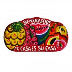 Placa de pared Bienvenidos rojo - Decoración mexicana - Casa Frida