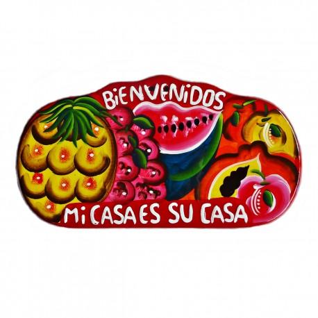 Red Bienvenidos wall plaque