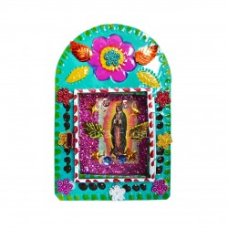 Turquoise Virgin of Guadalupe tin shrine