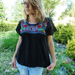 Embroidered blouse Pavo real - Black