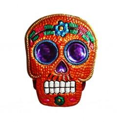 Tin sugar skull ornament