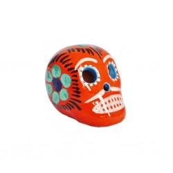 Small Mexican skull orange - Decorated clay mini skull - Casa Frida