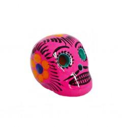 Petit crâne mexicain rose - Mini tête de mort décorée - Casa Frida