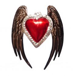 Sagrado corazón con alas de ángel - Hojalata de México - Casa Frida