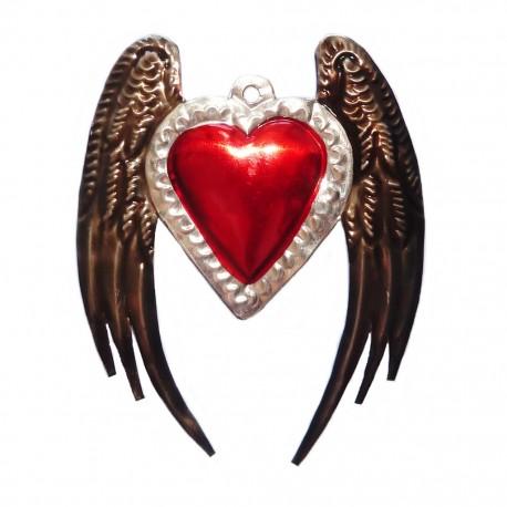 Coeur sacré à ailes d'ange - Ex-voto mexicain, argent vieilli - Casa Frida