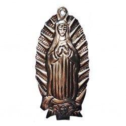 Virgin of Guadalupe tin ornament - Mexican wall plaque decor - Casa Frida