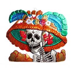 Catrina tin ornament - Orange - Mexican Day of the Dead decor - Casa Frida