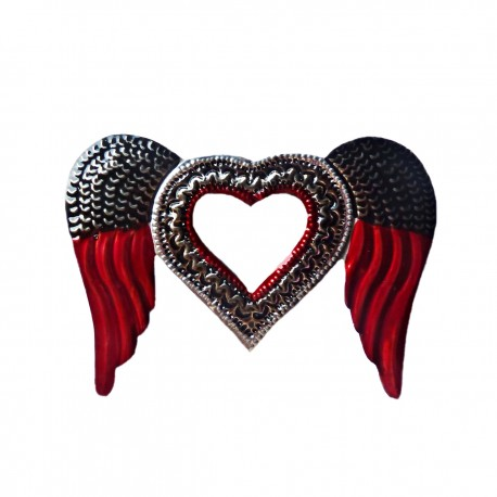 Sacred heart with mirror Angel wings