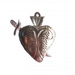 Sagrado corazón milagro con daga - Hojalata mexicana - Casa Frida
