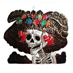 Catrina en étain - Noir - Décoration fête des morts - Casa Frida