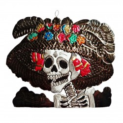 Catrina tin ornament - Black - Mexican Day of the Dead decor - Casa Frida