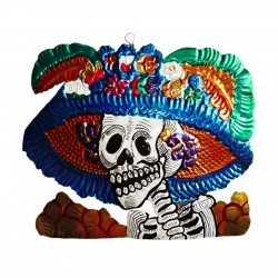Catrina tin ornament - Blue - Mexican Day of the Dead decor - Casa Frida