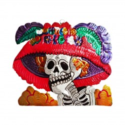 Catrina tin ornament - Red - Mexican Day of the Dead decor - Casa Frida