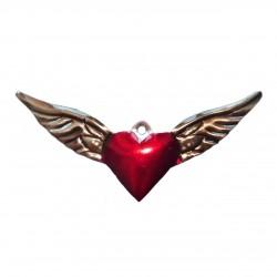 Ex voto coeur sacré avec grandes ailes - Artisanat mexicain - Casa Frida