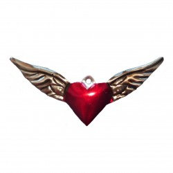 Tin winged sacred heart - Mexican artcraft tattoo style - Casa Frida