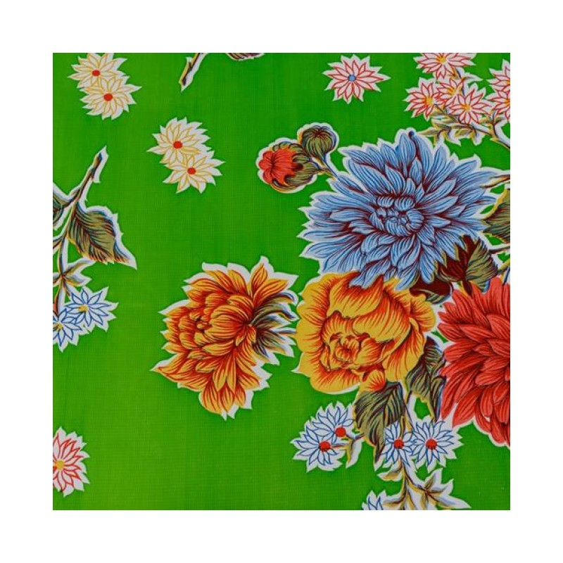 Green Crisantemos Oilcloth Laminated Cotton With Mums